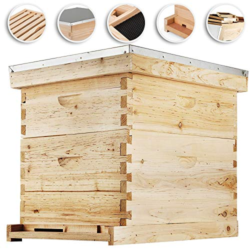 Happybuy Bee Hive 20 Frame Beehive Box 10 Deep and 10 Medium Frames...