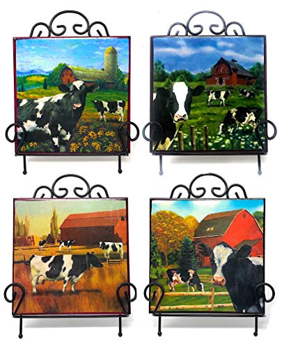Mayrich Farmhouse Decor Set of 4 Cows Tile Art with Easels Small Prints Farm Barnyard Inspired 6