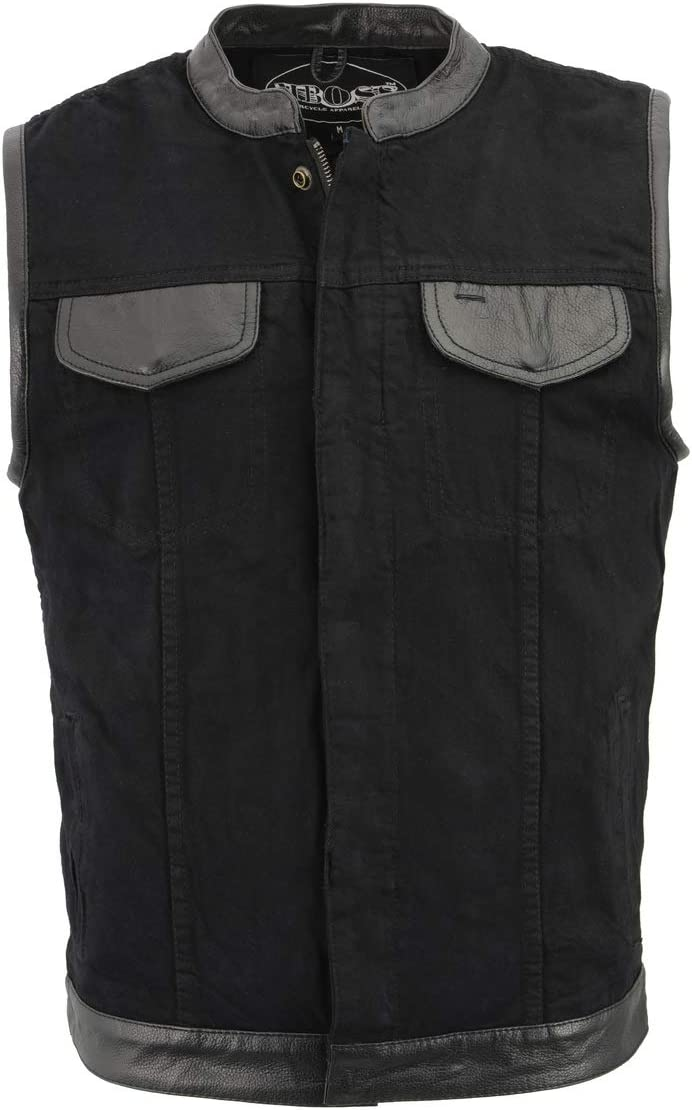 M Boss Motorcycle Apparel BOS13010 Men's Black Denim Club Style Vest with Leather Trim and Hidden Zipper - 4X-Large