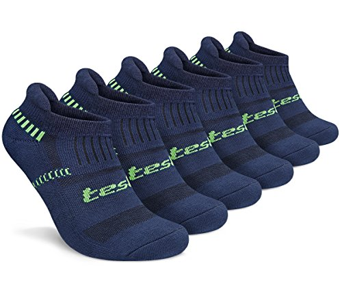 Tesla S TM-MZS04-NVY_Large Men's 6-Pairs Atheltic No Show Socks Cushioned Comfort w Mesh MZS04