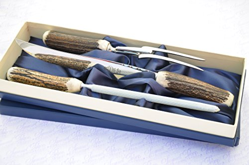Genuine Stag/Antler Handle 3 Piece Carving Set Boxed Made In Sheffield England Antler Carving