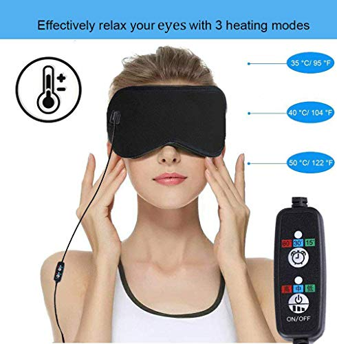 Mengya Heated Eye Mask to Relieve Eye Stress,Hot Portable Electric Heating Pad for Eyes,USB Sleep Mask,Adjustable Temperature Time Control,Eye Mask for Puffy Eyes, Dry, Tired Eyes and Dark Circles