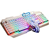 TTQ Gaming Keyboard Mechanical Touch Feeling with Rainbow Backlit& Gaming Mouse Max 3200 DPI with Blue Breathing Lamp& Mouse Pad,Mouse Keyboard Set(Gold)