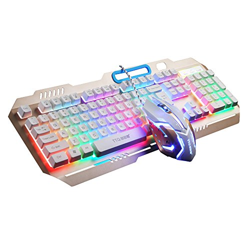 TTQ Gaming Keyboard Mechanical Touch Feeling with Rainbow Backlit& Gaming Mouse Max 3200 DPI with Blue Breathing Lamp& Mouse Pad,Mouse Keyboard Set(Gold) by TTQ