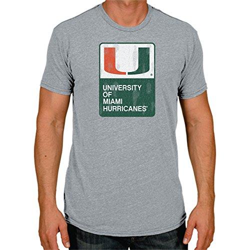 NCAA Miami Hurricanes Men's Triblend Tee, Large, Steel Grey
