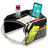 kids travel play tray - Kids Travel Tray – Portable Car Seat Snacks & Play Activity Desk for Toddlers - Amazing Bonus Gift: Kid Apron