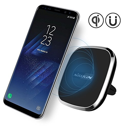 wireless charger nillkin 2 in 1 qi wireless charging pad magnetic car mount air vent holder. Black Bedroom Furniture Sets. Home Design Ideas
