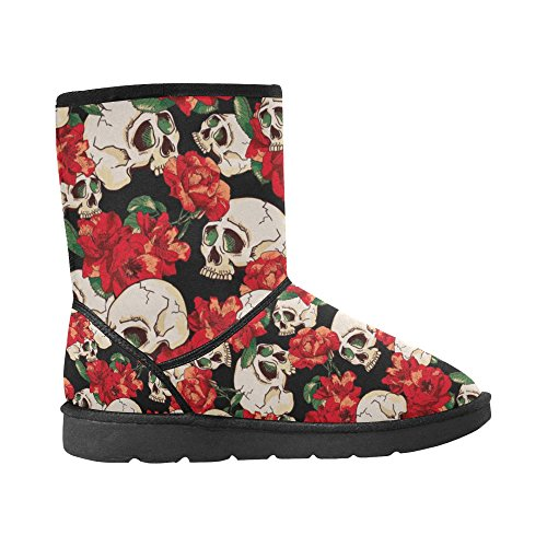 D-story Fashion Mujeres Zapatos Colorful Skull High Top Botas De Nieve Para Mujer Color6