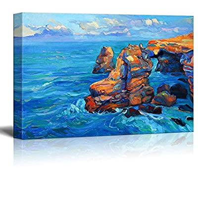 Canvas Prints Wall Art - Abstract Oil Painting of Cliffs and Ocean on Canvas.Modern Impressionism| Modern Home Deoration/Wall Art Giclee Printing Wrapped Canvas Art Ready to Hang - 24