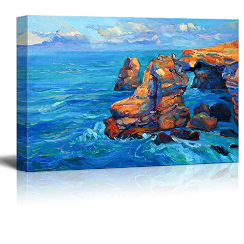 Abstract Oil Painting of Cliffs and Ocean Impressionism Home Deoration Wall Decor ing