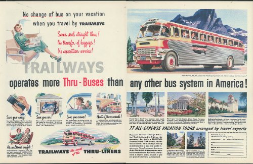 - No change of bus on your vacation Trailways Thru-Buses 2-page ad 1951
