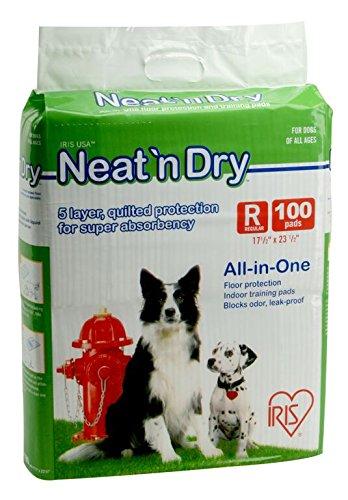 IRIS Neat 'n Dry Premium Pet Training Pads, Regular, 100 - Pad Dry Training