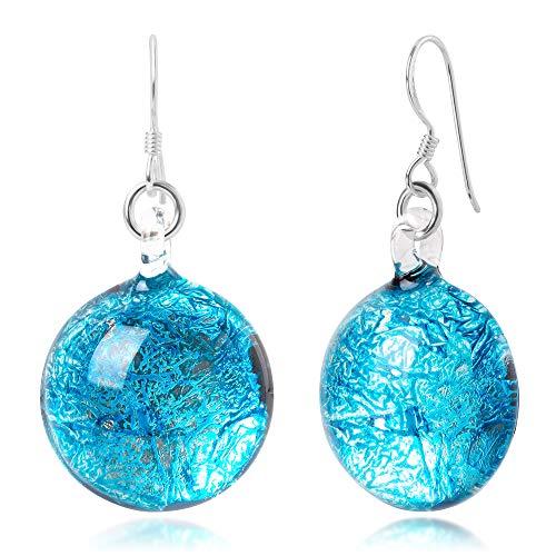 (Sterling Silver Hand Blown Venetian Murano Glass Glitter Blue Sky Round Dangle Earrings)