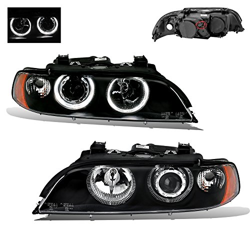 540i Bmw Headlight Assembly (SPPC Projector Headlights Black Assembly Set Dual Halo Reflector For BMW 5 Series E39 - (Pair) Driver Left and Passenger Right Side Replacement Headlamp)