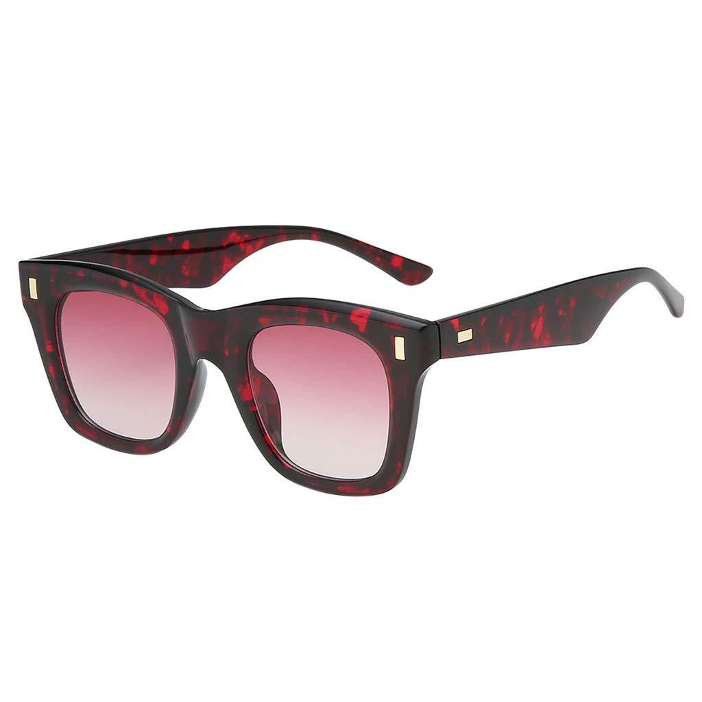 Hanjinr Fashion Womens Leopard Print Thin and Light Square Width Sunglasses Transparent Glasses