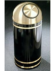 Glaro Monte Carlo Satin Brass Cover Dome Top Waste Receptacle 8 Gal 12 Inch Dia X 30 Inch H Satin Black Shown In Satin Black Finish