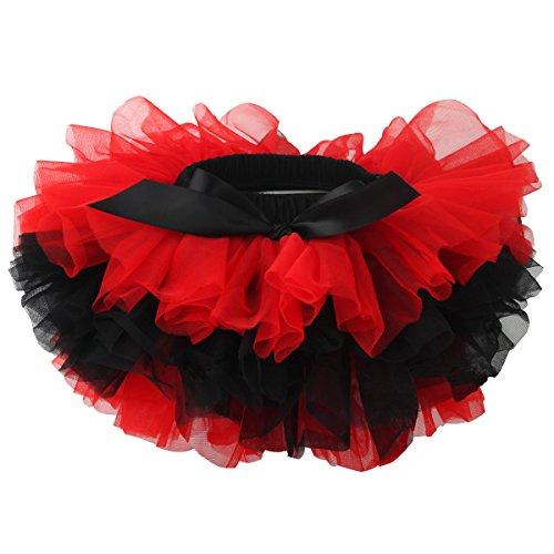 Slowera Baby Girls Soft Tutu Skirt (Skorts) 0 to 36 Months (L: 12-24 Months, Red Black) -