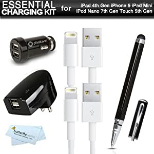 Essential 8 Pin lightning USB Data / Sync Cable Charging Accessory Bundle For New iPhone 6, 6 Plus, 5, New iPad Mini, New iPad 4th Gen, iPod Touch Includes 2pk 3ft. 8 Pin Lightning USB Data/Sync Charge Cables + 2.0 Amp Dual USB Rapid Home And Car Charger
