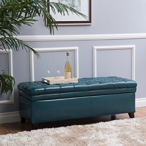(Christopher Knight Home 296867 Living Laguna Tufted Teal Storage Ottoman 50.00D x 20.50W x 18.30H)