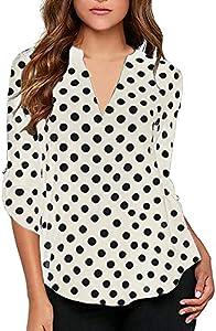 Win A Free KISSMODA Women's Casual Polka Dot Roll Tab Long Sleeve Blouse...