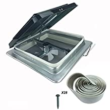 """HENG'S 14"""" RV CAMPER TRAILER UNIVERSAL SMOKE LID ROOF VENT WITH 12V 12 VOLT FAN 74112- NO GARNISH RING INCLUDED"""