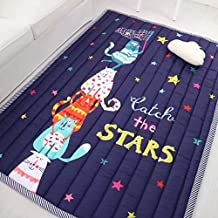 Kid's Room Area Rugs,Kids playing tent mats,Environmental Anti-slip Home Decoration Bedroom/Living Room Carpet Yoga Mat Baby Crawling Mats Kids Play Mat Machine Washable Rugs (Catch the stars)