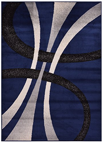 (Comfy Collection Stripes Geometric Modern Area Rug Contemporary Rug 4 Color Options (Navy Blue, 4'11