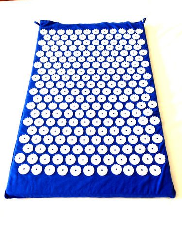 Blue Acupressure Mat Yoga Mat Acupuncture Mat to Relieve Stress, Tension, Pain 100% Soft Cotton Fabric, 6210 Acupressure Points