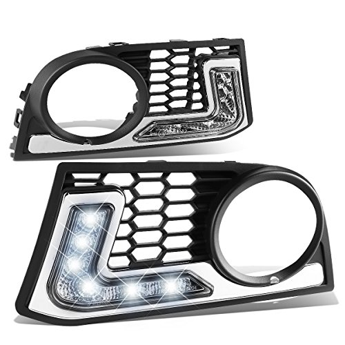 For BMW F10 5-Series Pair of Front Bumper Fog Light Bezel Integrated Day Time Running Lights - w/M-Tech Bumpers ()