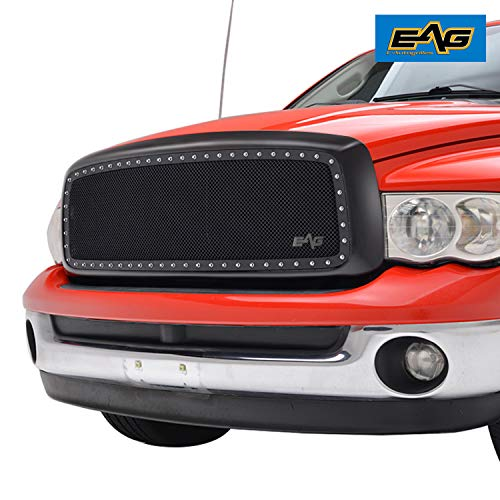 (EAG Matte Black Shell Rivet Studded Frame Black Stainless Steel Wire Mesh Packaged Grille Insert for 02-05 Dodge Ram 1500/03-05 Dodge Ram 2500/3500)