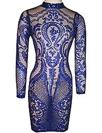 Women's Sexy See Through Tatoo Gothic Sequin Club Dress