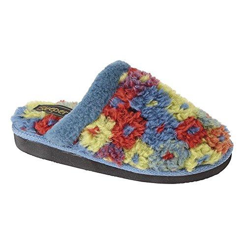Pantofole Da Donna Karlie Con Fodera Termica Floreale Blu Azul