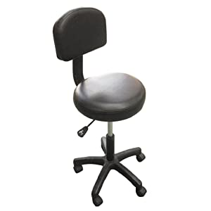 H-ROOT Massage Beauty Therapy Tatoo Gas Stool Height Adjustable with Removable Back Rest (Black)
