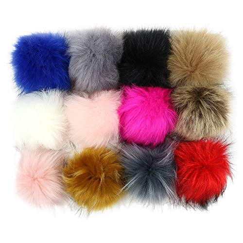 12pcs Faux Fox Fur 3.1inch Pom Pom Ball With Press Button for Knitting Hat DIY Accessories (C) (Knitting Felted Hats)