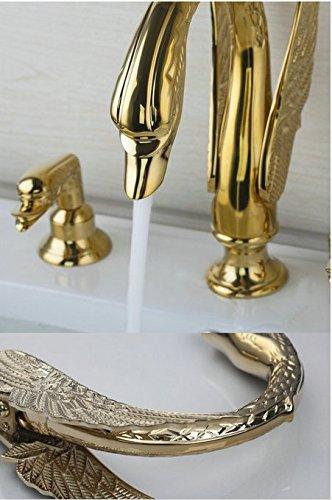 GOWE Golden Swan Waterfall 3 Pieces Double Handles Bathtub Torneira Deck Mounted Shower Bathroom Basin Sink Faucet,Mixers &Taps 5