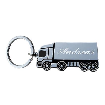 Llavero camión/Camión grabado metal con-plata pulida: Amazon ...