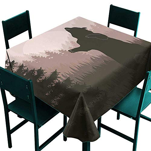Warm Family Nature Easy Care Tablecloth Silhouette of Wild Bear in The Jungle Woodland at Dark Night Illustration Indoor Outdoor Camping Picnic W63 x L63 Army Green Pale Peach ()