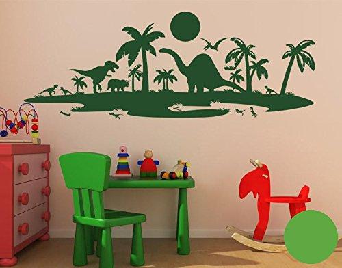 Klebefieber Wandtattoo Dinolandschaft B x H    100cm x 37cm Farbe  dunkelgrün B072HNS9XD Wandtattoos & Wandbilder 9c7281