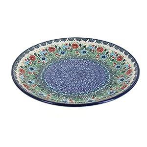 Blue Rose Polish Pottery Watercolor Garden Dinner Plate
