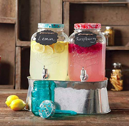 The Pioneer Woman Simple Homemade Goodness Double 1-Gallon Twin Set Drink Dispenser with Ice Bucket, 2 Mini Chalk Boards and Chalk Pencil by The Pioneer Woman