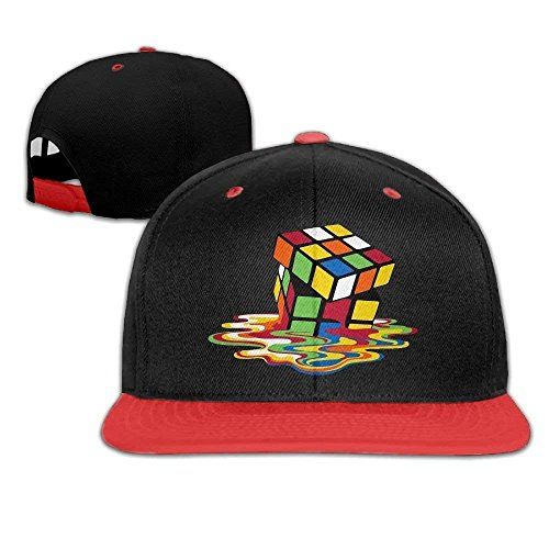 WCMBY Personality Caps Hats Unisex Rubiks Cube Melting Cube Bing Bang Theory Cotton Snapback Hip Hop Flat Tongue Hats Adjustable Baseball Caps for Outdr - Cube Baseball Chicago Cubs