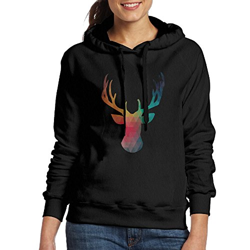 Women's Cartoon Reindeer Art Hoodie Fall Winter Cotton Hooded Sweatshirt Long Sleeve Pocket Bracelet Gray White Black Color