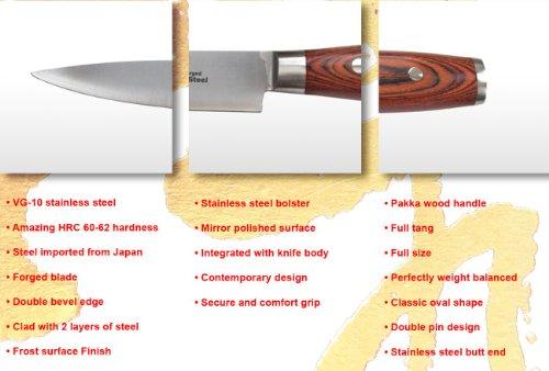 ZHEN Japanese VG-10 5-Piece 3-Layer Forged Steel Cutlery Knife Set, Pakka Wood by ZHEN (Image #7)