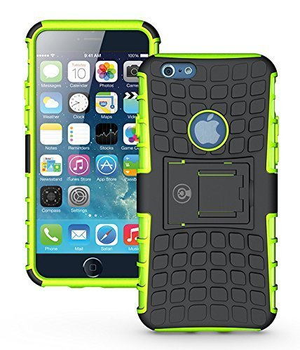 iPhone 6S Case, iPhone 6 Case by Cable and Case - [Heavy Duty] Tough Dual Layer 2 in 1 Rugged Rubber Hybrid Hard/Soft Impact Protective Cover [with Kickstand] Shipped from The U.S.A. - Green