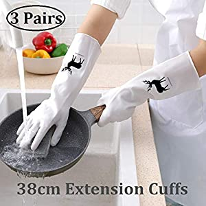 Long Rubber Gloves for Kitchen Dishwashing Gloves, Reusable Household Gloves for Cleaning Dish Gloves, Longer &Waterproof 3-Pairs (L)