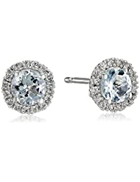 Sterling Silver Round Birthstone and Created White Sapphire Halo Stud Earrings