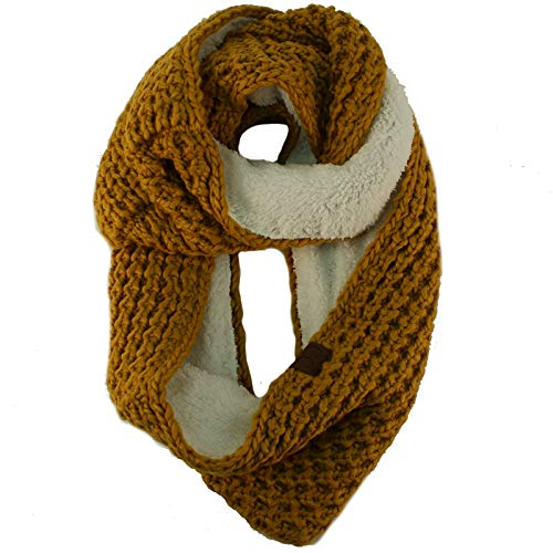 Winter Warm Soft Sherpa Fleece Lined Thick Knit Loop Infinity Ski Long Scarf