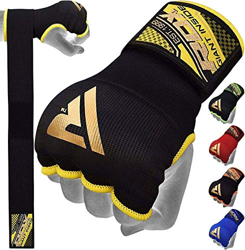 RDX Boxing Hand Wraps Inner Gloves, Quick 75cm Long Wrist Straps, Elasticated, Padded Fist Hand Protection, Muay Thai…