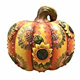 Terracotta Pumpkin Figurine With Sunflowers, Leaves and Rhinestones 6.75 Inches