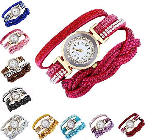 CdyBox Fashion Rhinestone Watch Twine Bracelet Women Luxury Quartz Wrist Watches(10 Pack)